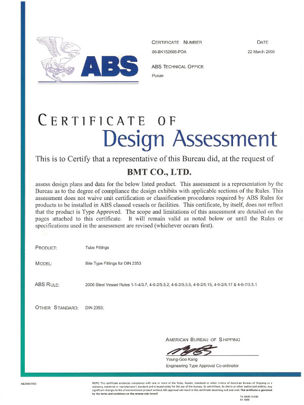 ABS Certificate of Design Assessment 1